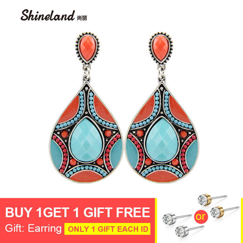 Boho Drop Earrings For Women Ethnic Vintage Silver Color Multicolor Bead Large Bohemia Dangle Earrings Statement Jewelry Brincos
