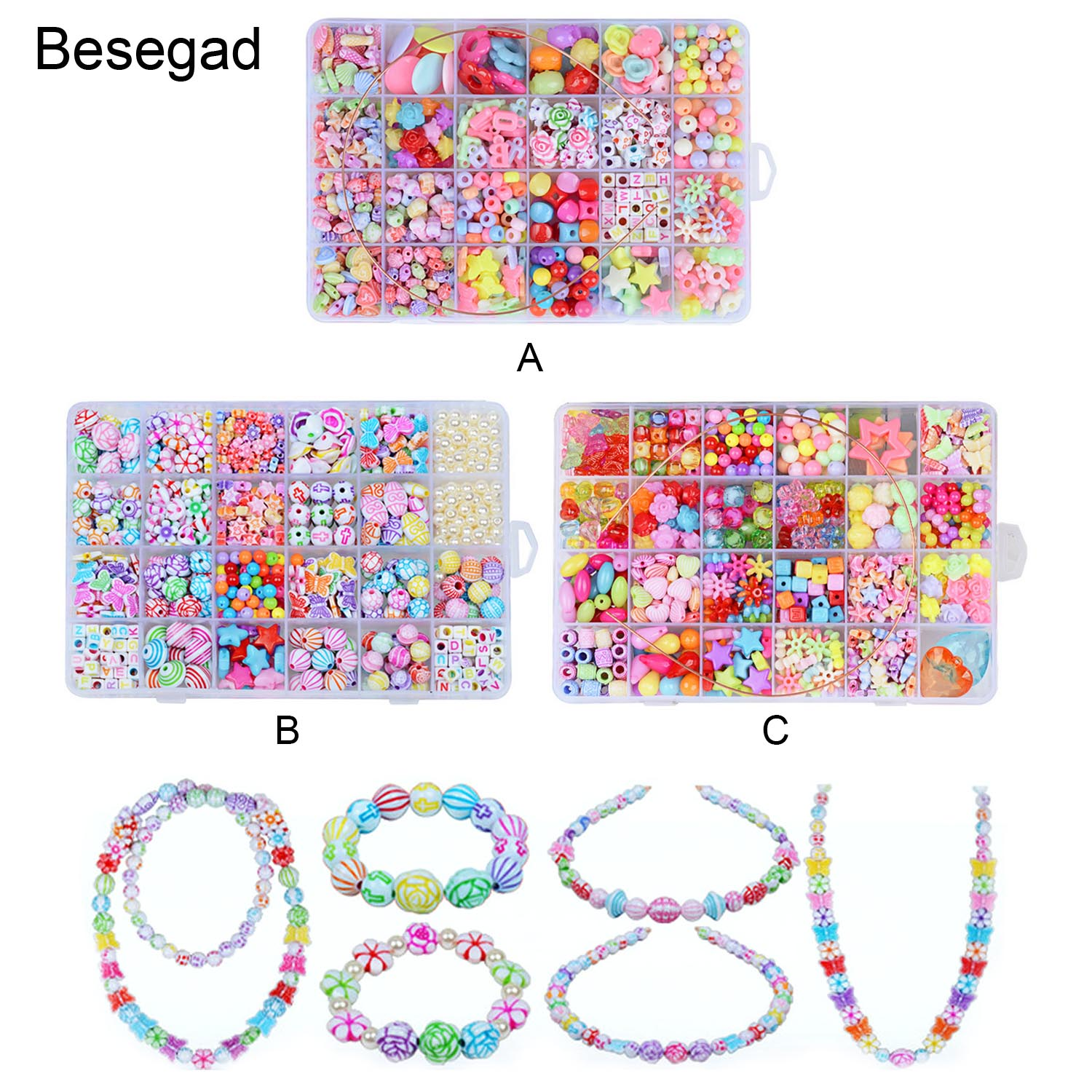 Besegad 550pcs Multicolor Styles Acrylic Craft Beads For Jewelry Making Crafts Kids Toys DIY Bracelets Necklaces Educational Toy
