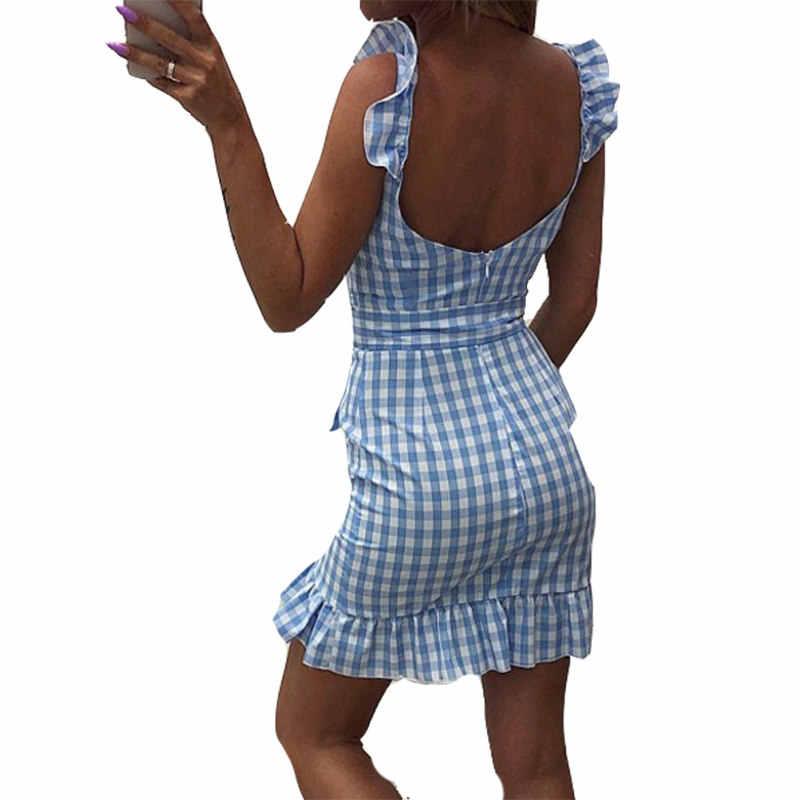 Сетчатое летнее красное клетчатое платье винтажное пляжное бохо платье уличная с оборками на бретельках с v-образным вырезом сексуальные вечерние женские платья