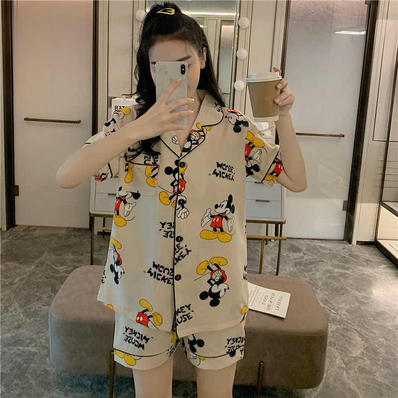 Caiyier Cute Mickey Print Pajamas Set Silk Satin Short Sleeve Sleepwear Sexy Ladies Nightsuits Big Size Pyjama Homewear M-5XL