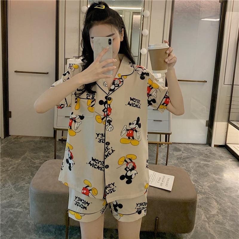 Caiyier Cute Mickey Print Pajamas Set Silk Satin Short Sleeve Sleepwear Sexy Ladies Nightsuits Big Size Pyjama Homewear M-5XL