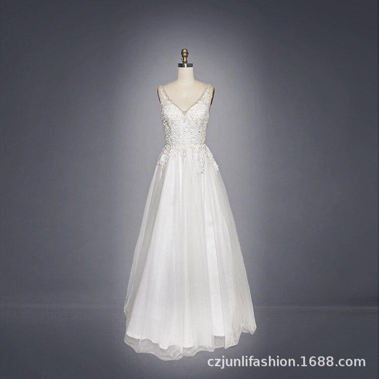 Vestido De Festa The Bride Sexy V-neck Long Qi To Marriage Gauze Export Perspective Lace Wedding Gown Show Thin Waist Dress