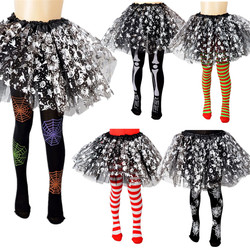 Kids Girls Halloween Full Length Tights Stockings Cartoon Spiderweb Skeleton Striped Pantyhose Cosplay Costume Carnival Party