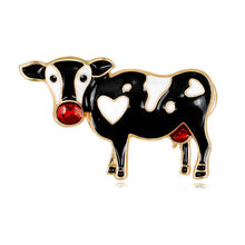 Personality Animal Brooches Cartoon Alloy Bovine Brooch Pins for Men Women Garment Jewelry Accessories in Stock(China)