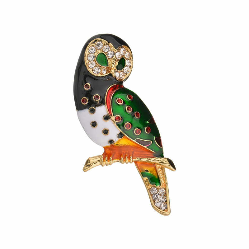 Enamel High Quality Vintage Owl Brooch Pin Corsage Scarf Clip Rhinestones Owl Brooches Lapel Pin Brooches Jewelry Women Sweater