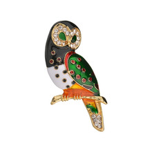 Enamel High Quality Vintage Owl Brooch Pin Corsage Scarf Clip Rhinestones Brooches Lapel Jewelry Women Sweater