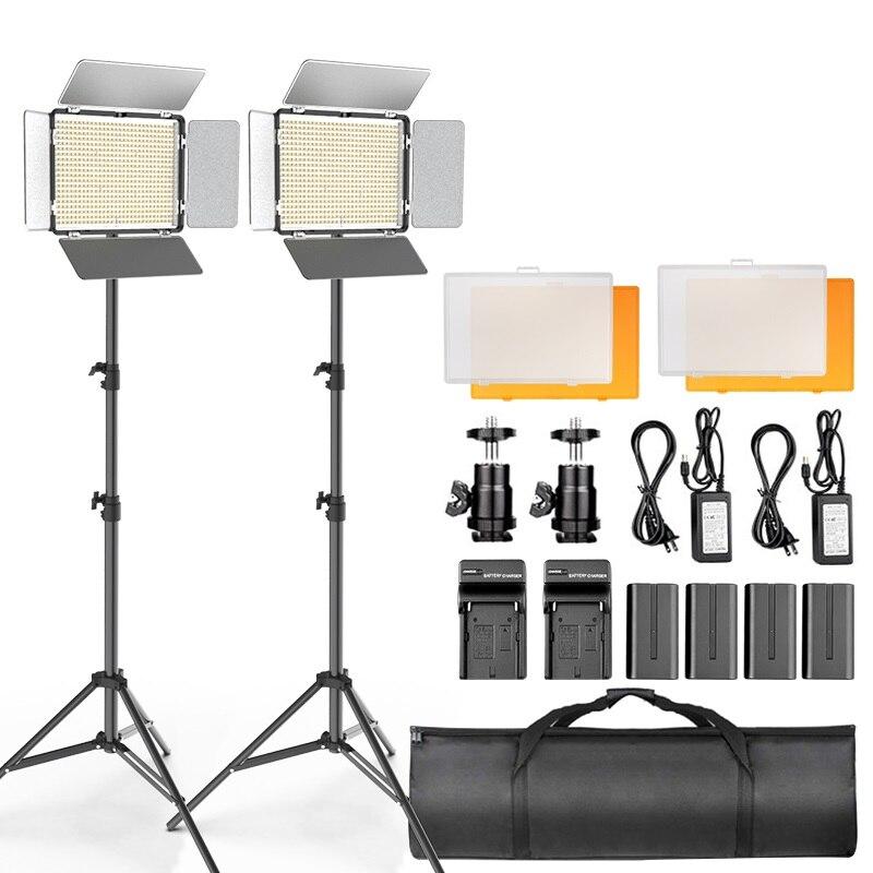 TL-600S 2 pièces lumière vidéo LED panneau lumineux photographie Studio lampe Dimmable avec 2m trépied pour Youtube maquillage en direct