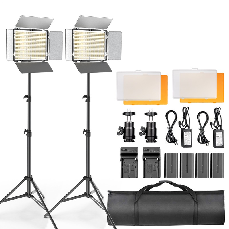 TL-600S 2pcs Video Light LED Panel Light Photography Studio Lamp Dimmable with 2m Tripod for Youtube Live Makeup Shooting video image