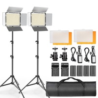 TL 600S 2pcs Video Light LED Panel Light Photography Studio Lamp Dimmable with 2m Tripod for Youtube Live Makeup Shooting video