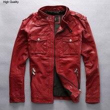slim fitted red leather jacket men Vegetable tanned goatskin black fashion biker