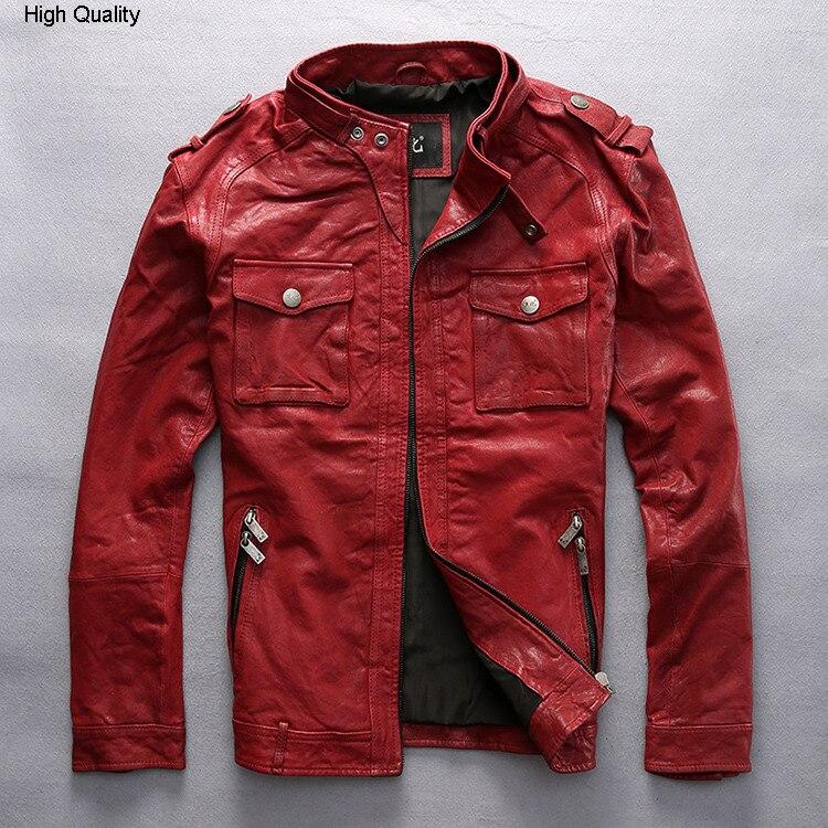 slim fitted red leather jacket men Vegetable tanned goatskin black fashion biker jacket coat for male new arrival M-XXXL