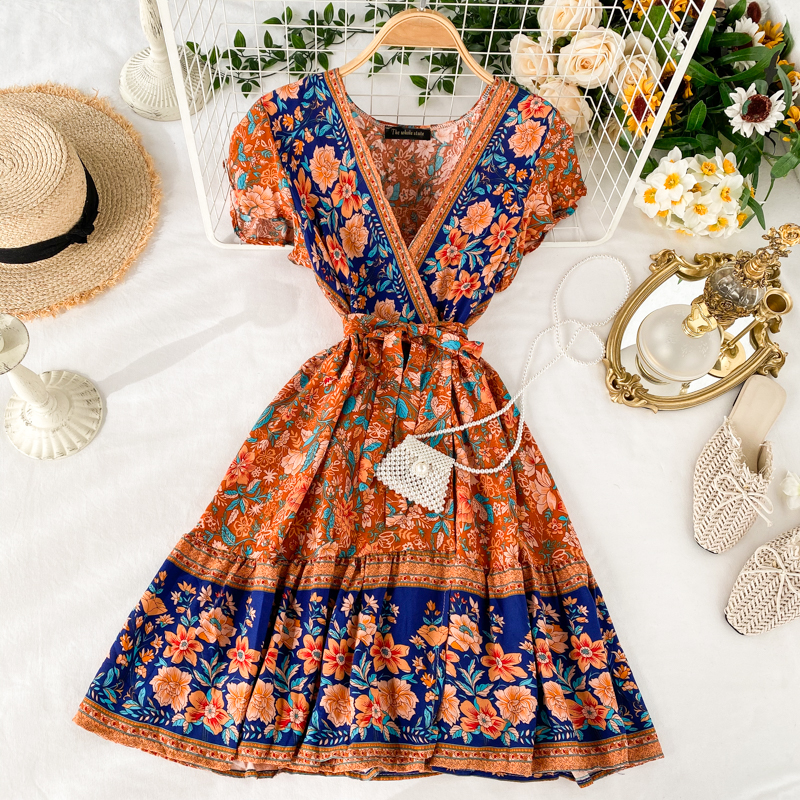<font><b>Boho</b></font> 2020 vintage <font><b>v</b></font> neck <font><b>floral</b></font> <font><b>print</b></font> Slim <font><b>short</b></font> <font><b>Dress</b></font> summer <font><b>beach</b></font> <font><b>sexy</b></font> bandage <font><b>dress</b></font> Party vestidos Women a-line holiday <font><b>dress</b></font> image