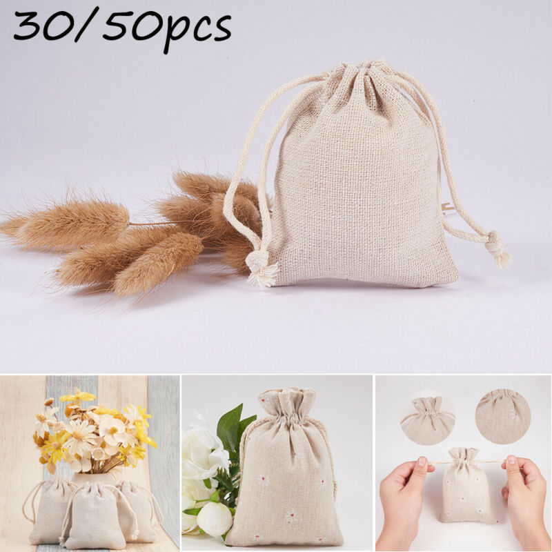 30/50pcs High Quality Cotton Linen Handmade  Drawstring Bag Tea Candy Jewelry Gift Bags With Draw String Storage Bag