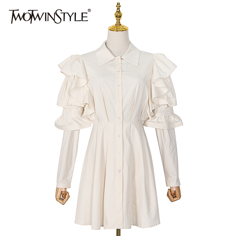 TWOTWINSTYLE Patchwork Ruffle Dresses For Women O Neck Long Sleeve High Waist Elegant Dress Female 2020 Summer Fashion New Tide