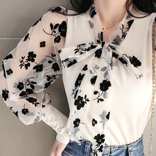 Girls Bow Neck Patchwork Mesh Blouses Shirts Tees Female 202
