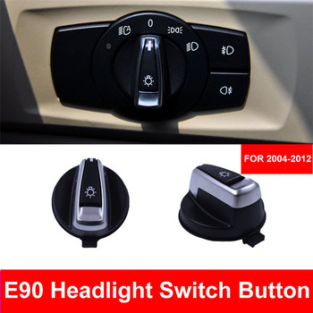 Car Styling Interior Inner Headlight Head Lights Switch Button Cover Cap Trim For BMW 3 series E90 318 320 325 330 335 X1 E84 image