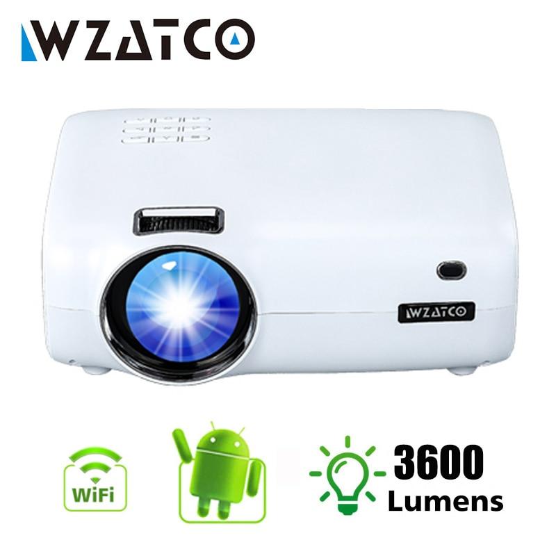 WZATCO E600 светодиодный смарт-проектор Android 9,0 Wi-Fi Поддержка Full HD 1080p 4K мини-проектор домашний кинотеатр, short throw, видео проекторв