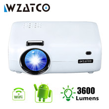 Wzatco e600 smart led projetor android 9.0 wifi suporte completo hd 1080p 4k mini beamer cinema em casa vídeo proyector