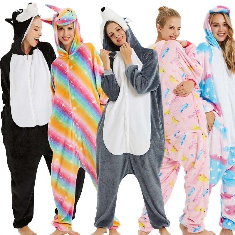 Kigurumi Unicornio Pajamas Set Women Men Winter Christmas Flannel Adults Animal Unicorn Sleepwear Panda Cartoon Stitch Nightwear