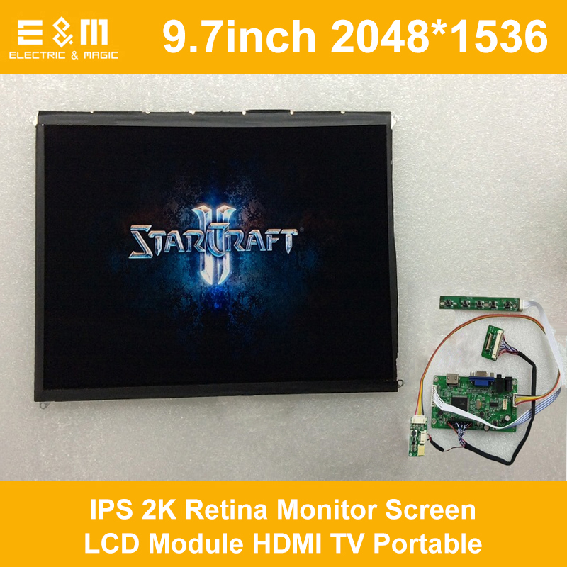 E&M 9.7 Inch 2048*1536 IPS 2K Retina Monitor Screen LCD Module HDMI TV Portable Raspberry Pi 3 Xbox PS4 Aerial Display Player