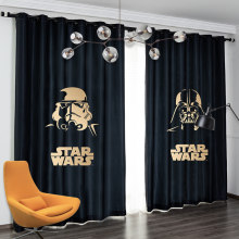 Negro Star Wars Space 2 paneles/Set cortina de ventana bloque out tela cortinas oscurecimiento térmico aislado sala de estar dormitorio niños(China)