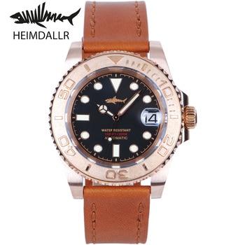 HEIMDALLR Mens Dive Bronze Watch Sapphire 40mm Black Dial 30Bar NH35A Automatic Movement Mechanical Diving Watches