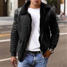 Горячая Распродажа мужские кожаные куртки зимняя утепленная