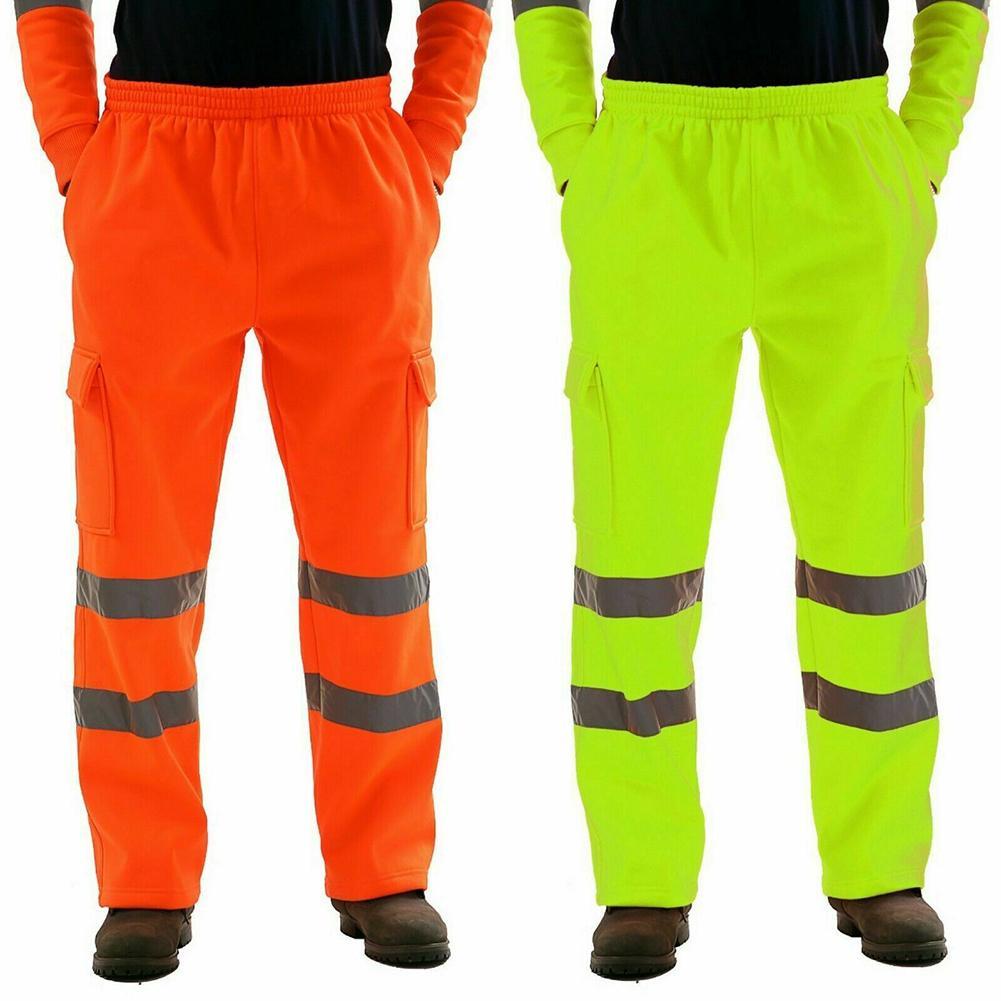 Unisex Men Breathable Work Pants Reflective Stripe Elastic Waist Trousers S-3XL