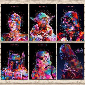 Gwiezdne wojny płótno malarstwo gwiezdne wojny Darth Vader Yoda film plakaty i druki ścienne drukowany obraz na płótnie Home Decor chłopiec prezent Cuadros tanie i dobre opinie Hasbro CN (pochodzenie) Wydruki na płótnie Mieszkanie PŁÓTNO Olej filmowy bez ramki Nowoczesne S516 Malowanie natryskowe