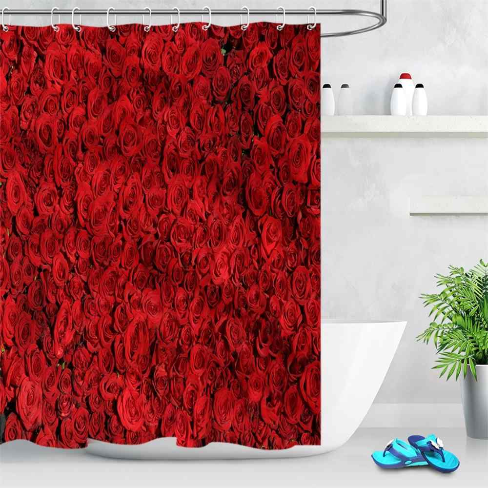 red rose modern flower polyester waterproof shower curtains for bathroom fabric bath curtain with hooks bathroom accessories
