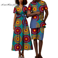 danshiki african couple clothing woman dress and man short pant suit customizable couples matching clothing for lover WYQ303