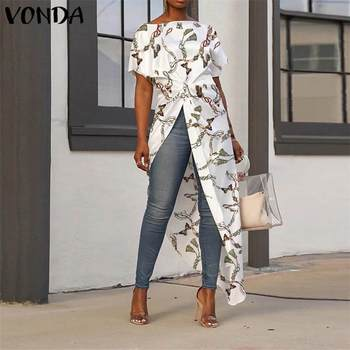 Women Asymmetrical Tops 2020 Summer Tunic Bohemian Ladies Shirts Vintage Floral Printed Long Blouse Female Plus Size Blusa S-5XL 6