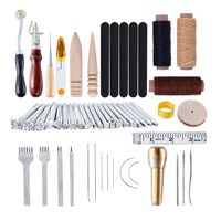 59pcs Leather Craft Tools Kit Hand Sewing Punch Stitching Carving Work DIY Gift for Clothes Designer Housewife Needle Arts Craft