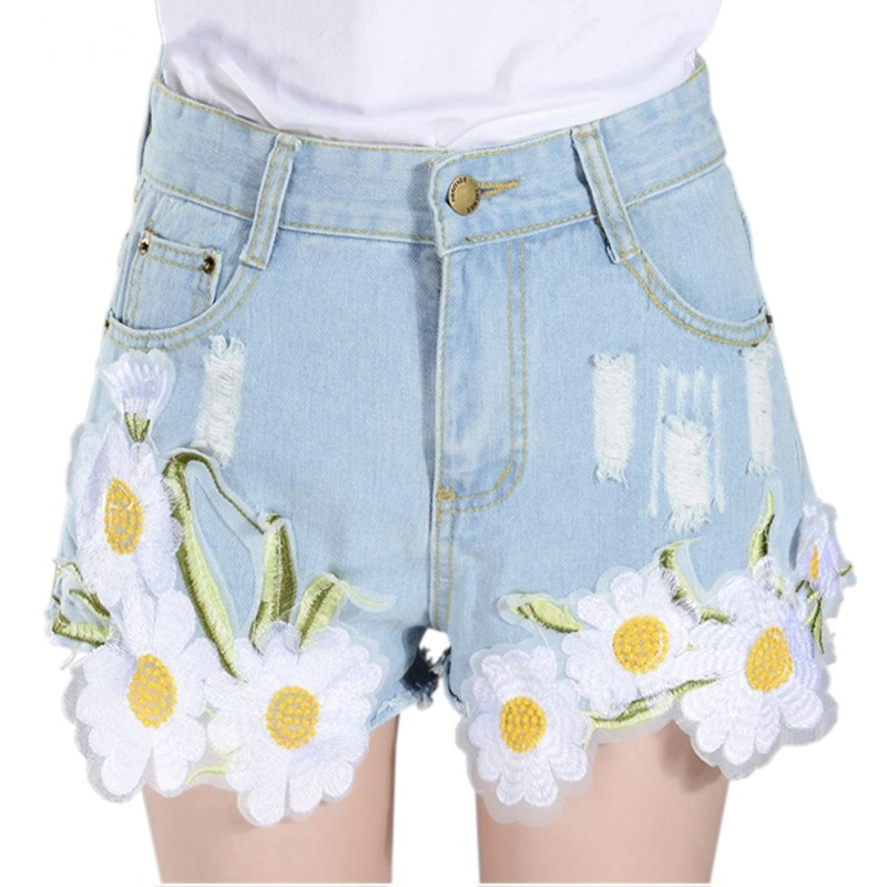 INDJXND Summer Small Daisy Applique Embroiderey High Waist Denim Shorts Women Ripped Hole Casual Pocket Jeans Short 2020 Fashion