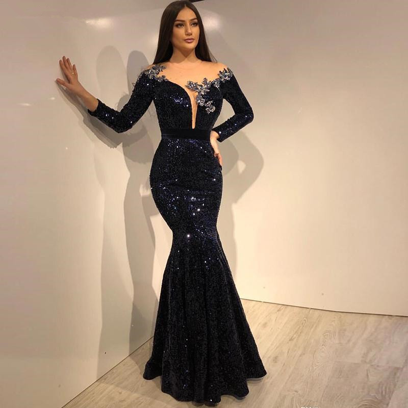 Vinca Sunny Sexy Mermaid Evening Dress Long Sleeve Navy Blue Sequin Formal Dress Party Gown robe de soiree Mermaid Prom Gowns