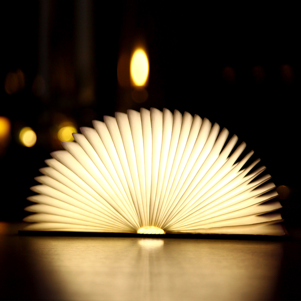 New PU Wood Grain Book Light Creative Gifts Page Folding LED Book Light Custom USB Charging Night Light