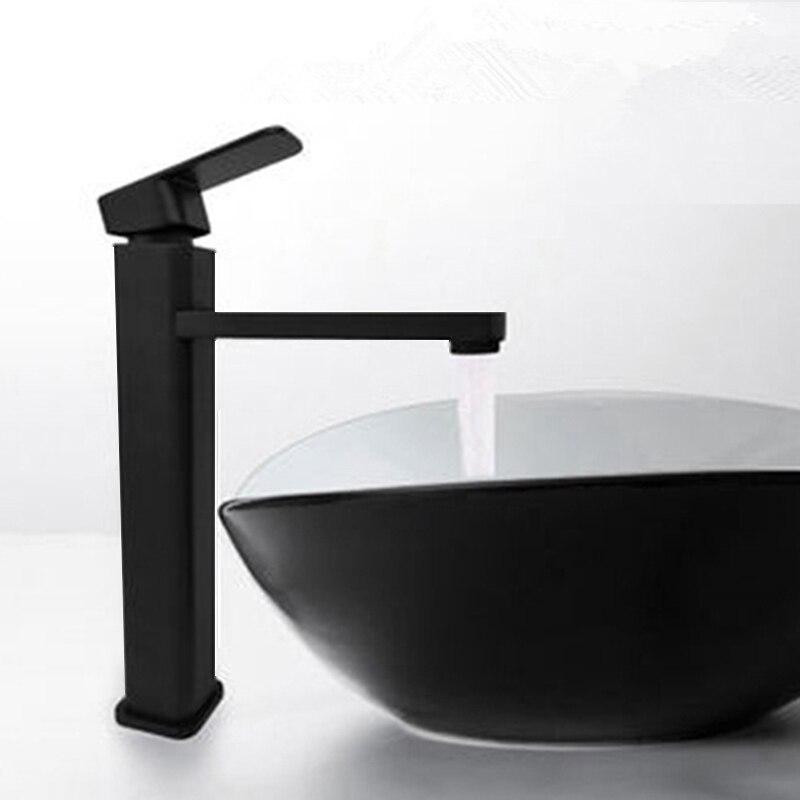 BAKALA Black  Bathroom Sink Faucet Single Handle Hole Black Faucet Basin Taps Deck Vintage Wash Hot Cold Mixer Tap Crane