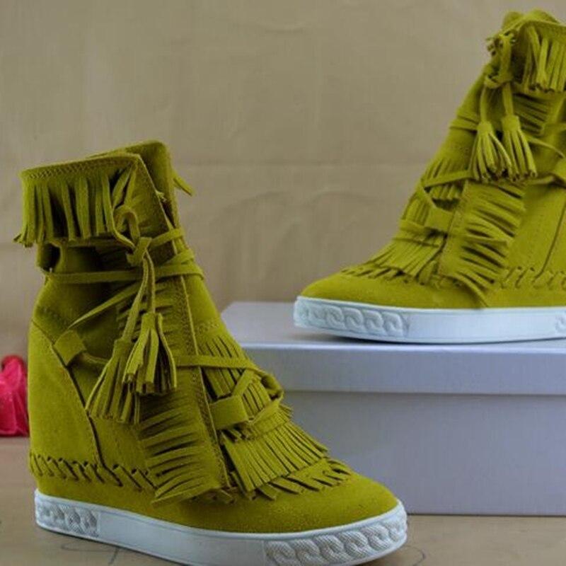 Camurça fring alto topo cunhas mulher sapatos dedo do pé redondo altura crescente rendas até borla botas tornozelo botas casuais senhoras tamanho grande - 6