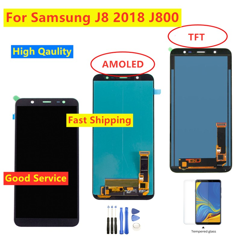 AMOLED J800 <font><b>LCD</b></font> For <font><b>Samsung</b></font> <font><b>J8</b></font> <font><b>2018</b></font> J800 J810FN SM-J810 <font><b>LCD</b></font> Display Touch Screen Digitizer Assembly repair parts Replacement image