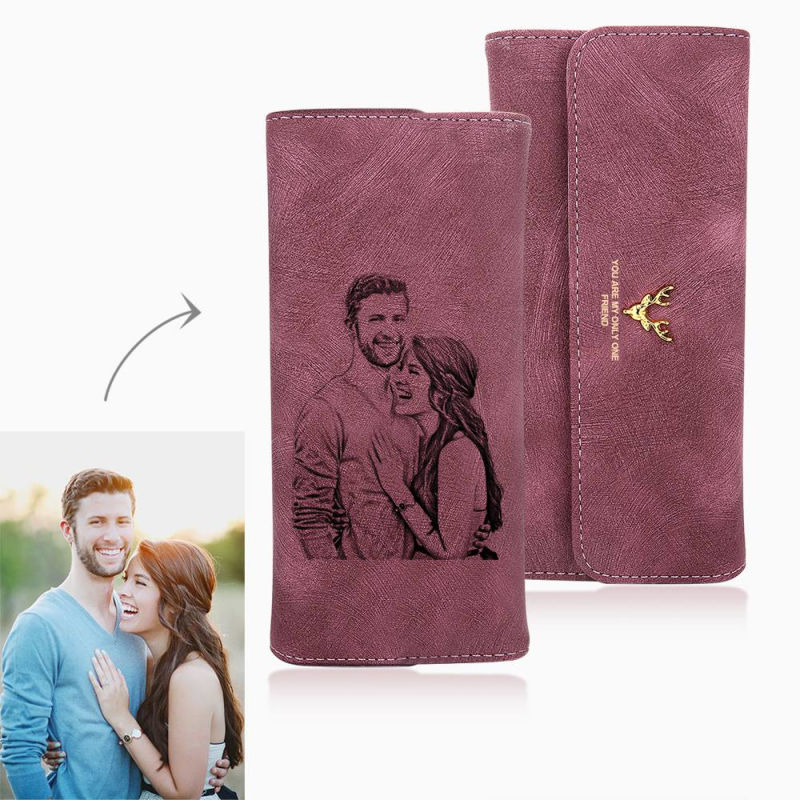 Women's Photo Engraved Trifold Photo Wallet Women's Wallet Long Scrub Retro Multi-function Clasp Clutch Cover High Capacity