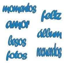 Naifumodo Spanish Words Metal Cutting Dies Letter Feliz Fotos Recuerdos Stencil for DIY Scrapbooking Album Paper Card Decor