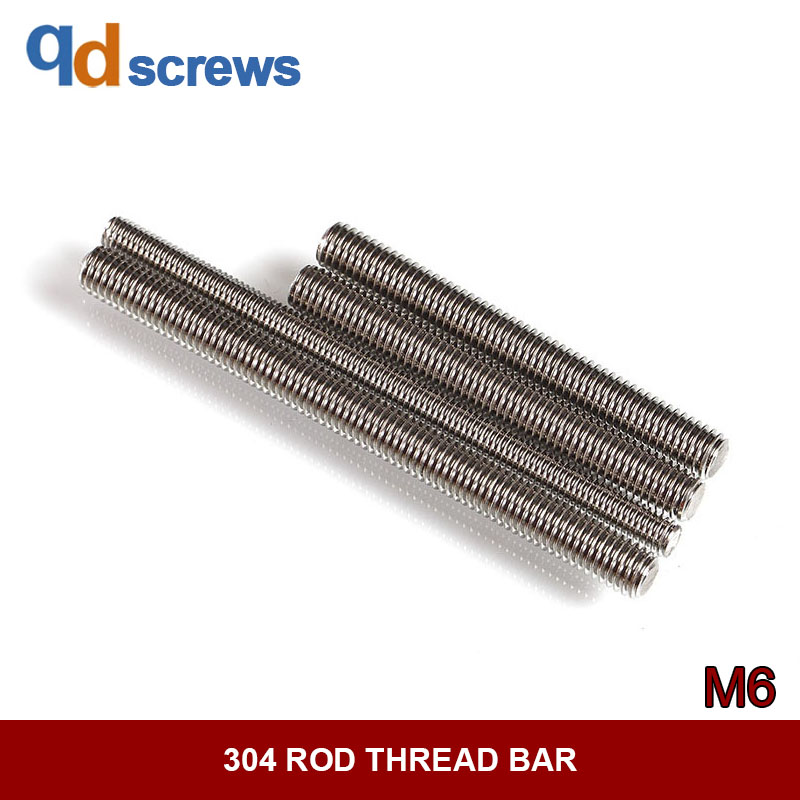 304 M6 Stud bolts thread Rods Stainless steel bolts Screw rod thread bar DIN796