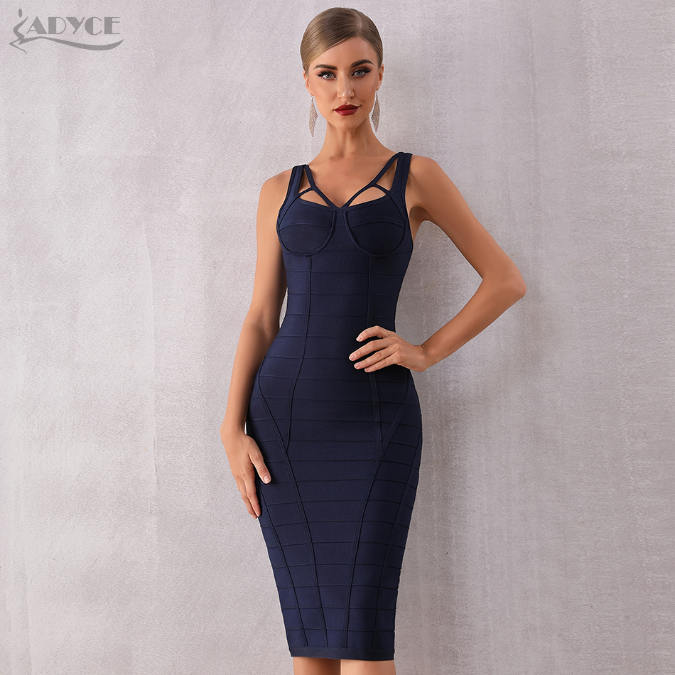 Adyce 2020 New Summer Bodycon Bandage Dress Women Blue Spaghetti Strap Sleeveless Celebrity Evening Runway Party Dress Vestidos