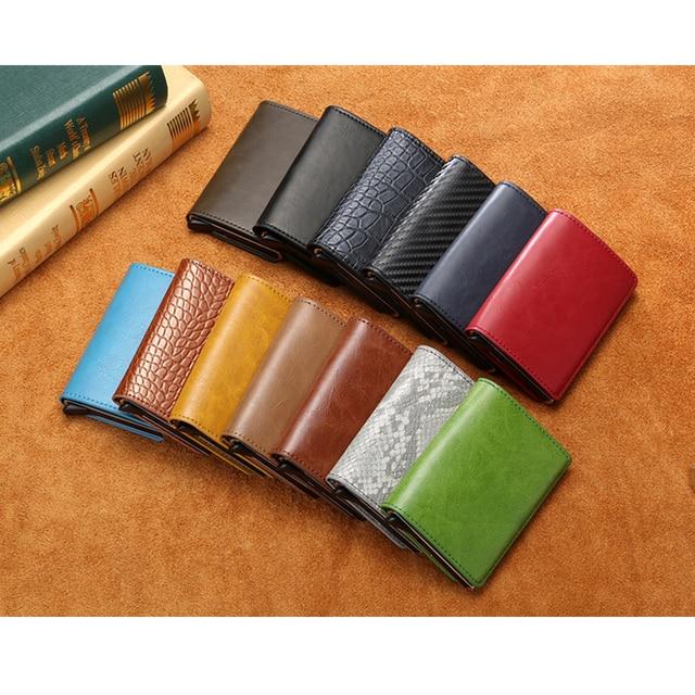 Aluminum Metal Credit Business Mini Card Wallet 2021 Dropshipping Man Women Smart Wallet Business Card Holder Rfid Wallet 6