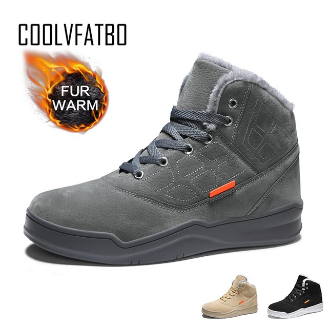 Coolvfatbo男性雪のブーツ冬暖かい男性靴のファッション快適な高トップ屋外スニーカーブーツ毛皮フラット冬の靴
