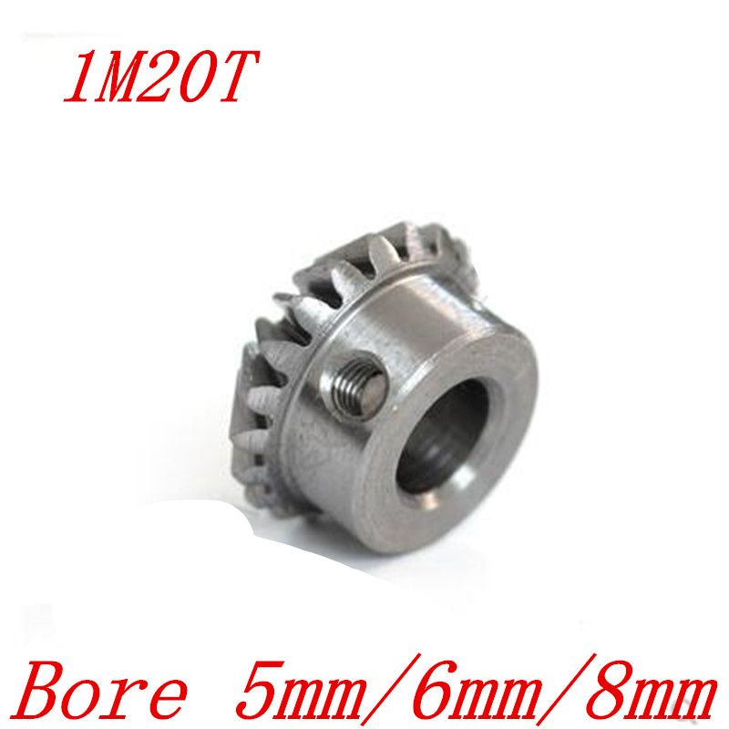 2pcs 1:1 Bevel Gear 1 Modulus 20 Teeth With Inner Hole 5mm 6mm 8mm 90 Degree Drive Commutation Steel Gears Screw Hole M4