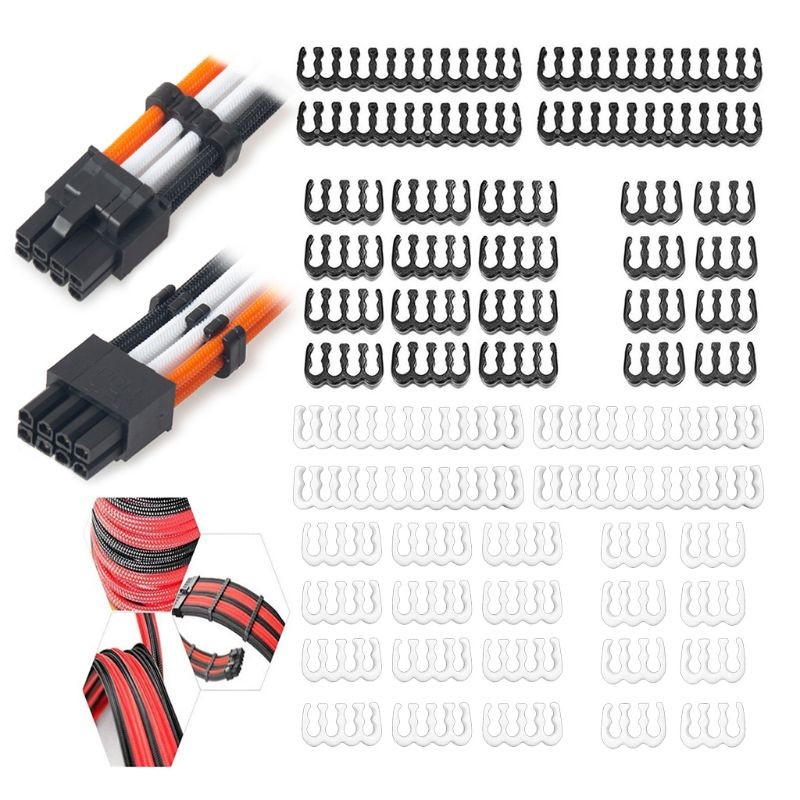 1Set <font><b>24Pin</b></font> x 4 8Pin x 12 6Pin x 8 PP <font><b>Cable</b></font> Comb Clamp/Clip/Dresser for 3.4mm Sleeved <font><b>Cables</b></font> Power Supply Connector Black image