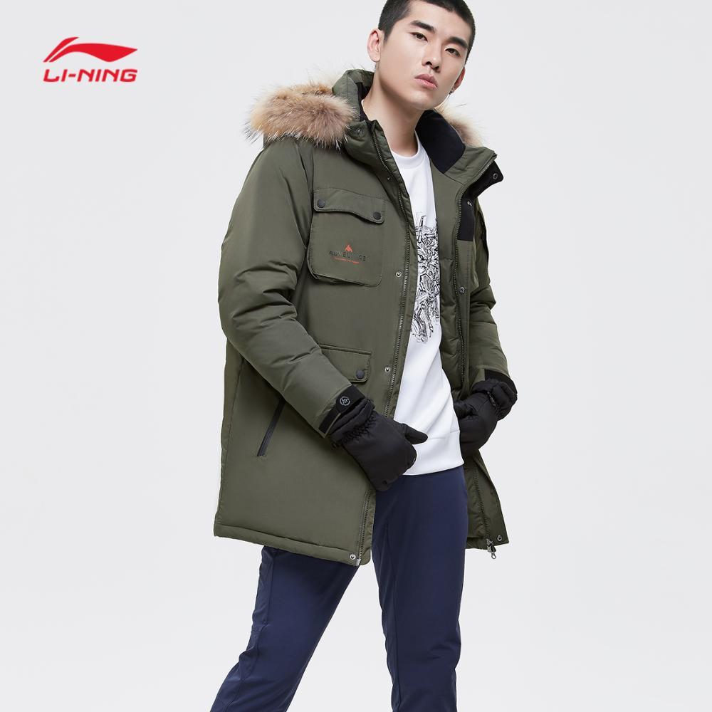 Li-ning hommes extérieur série mi-bas manteau ATProof Smart fourrure à capuche doublure Sports d'hiver épais Parkas chauds vestes AYMN043 COND18