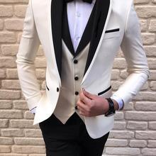 White Tuxedo Mens Suits 3 Piece Black Shawl Lapel Casual Blue Tuxedos for Wedding Groomsmen Suits Men 2020 (Blazer+Vest+Pant)