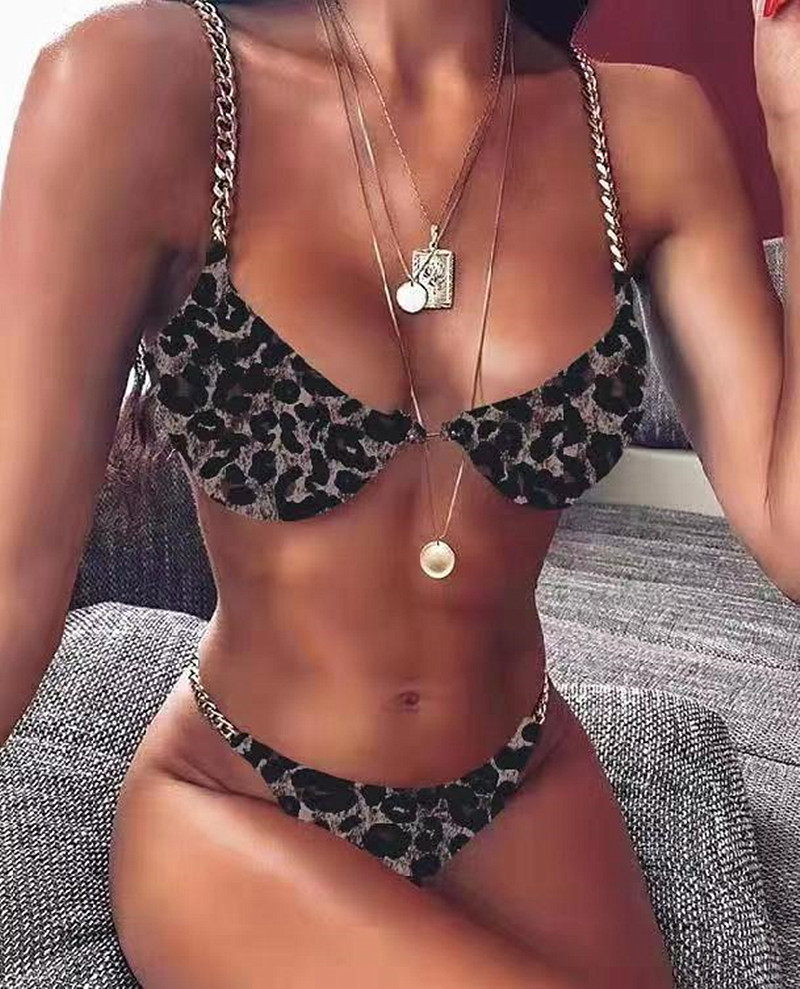 String 2020 chaîne Bikini Sexy plaine fendu maillot de bain boucle ardillon maillot de bain dame dos nu blanc brésilien Monokini maillot de bain